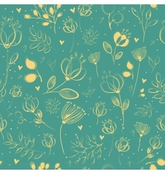 Spring yellow flowers floral seamless pattern vector