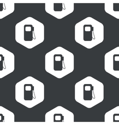 Black hexagon gas station pattern vector