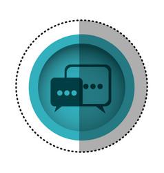 Blue round symbol square chat bubbles icon vector