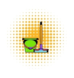 Bucket with a mop comics icon vector