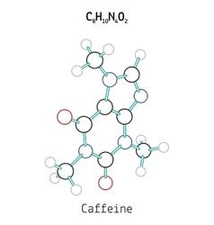 C8h10n4o2 caffeine molecule vector