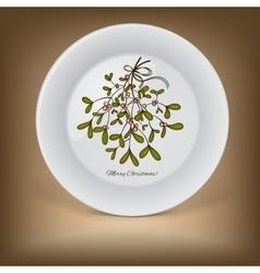 Christmas decorative plate with mistletoe vector