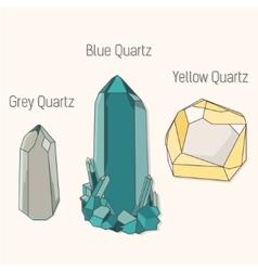 Crystal quartz mineral set vector