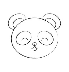 Cute sketch draw panda bear face vector