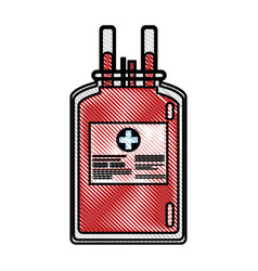 Drawing plastic bag blood donate health care vector