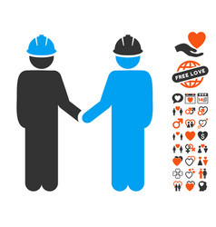 Engineer persons handshake icon with lovely bonus vector