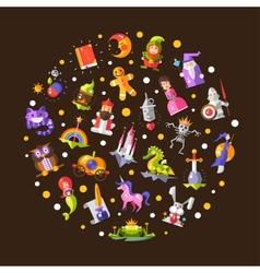 Fairy tales flat design magic vector