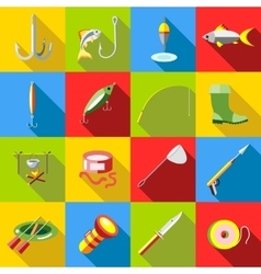 Fishing icon set flat style vector