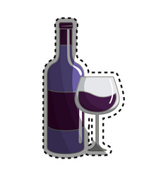 Glass and bottle of wine tasty icon vector