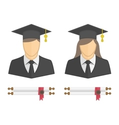 Graduates in gown and graduation cap icon vector