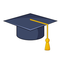 Graduation hat icon cartoon style vector