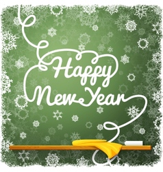 Happy New Year message written on the green school vector image