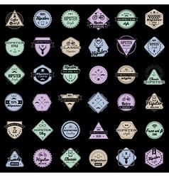 hipster emblems set vector image
