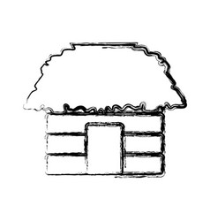 hut house building vector image