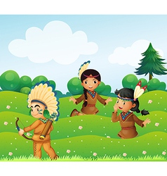 Indian children playing in the fields vector