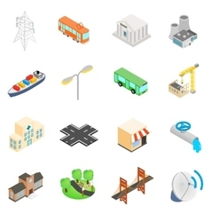 Infrastructure icons set vector