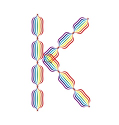 Letter K made in rainbow colors vector image vector image