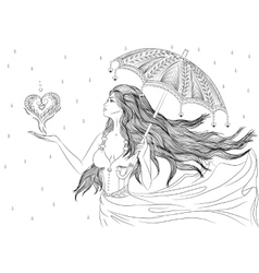 Line art of girl under umbrella vector image