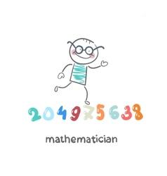 mathematician runs on figures vector image vector image