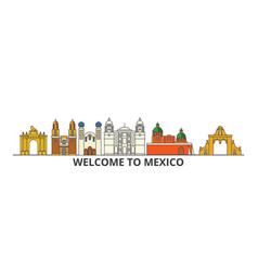 mexico outline skyline mexican flat thin line vector image vector image