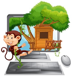 Monkey climbing up the treehouse on computer vector