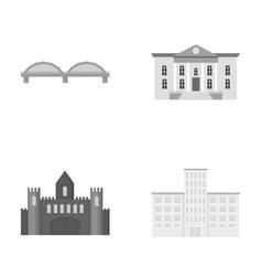 Museum bridge castle hospitalbuilding set vector