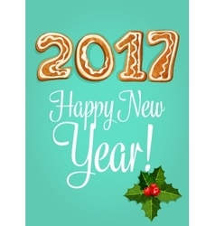 New Year greeting card with gingerbread number vector image