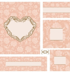 Ornate wedding frame set with heart frame vector