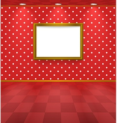 Polka dot room with frame vector image