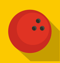Red marbled bowling ball icon flat style vector
