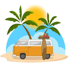 Retro travel van with surfing board and palm tree vector