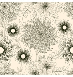 Seamless background with garden flowers vector image vector image