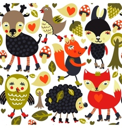 Seamless pattern with woodland animals and birds vector image vector image