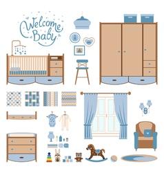 Set baby room vector