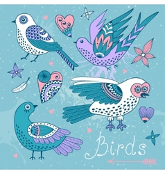 set birds and hearts vector image