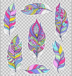 set of colorful feathers vector image vector image