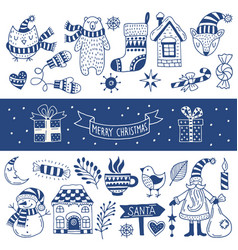 Set of happy christmas icons vector