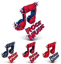 Set of red and black 3d musical notes created from vector