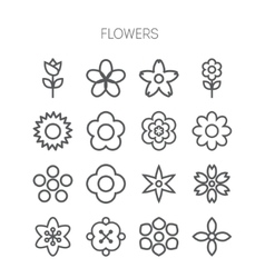 Simple monochromatic flower icon set vector image