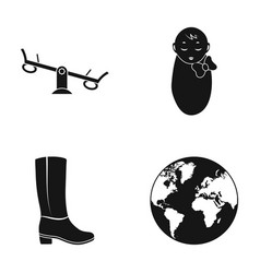 Swing baby and other web icon in black style vector