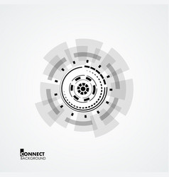 technological circle with geometry elements vector image