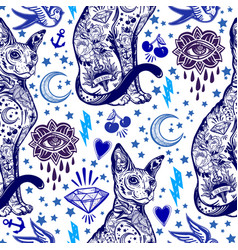 vintage cat traditional tattoo seamless pattern vector image vector image