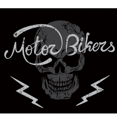 Vintage label with skull and motor bikers text vector