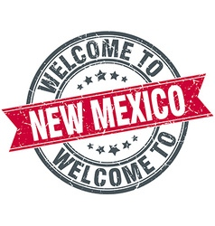 Welcome to new mexico red round vintage stamp vector
