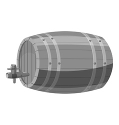 Wooden barrel icon gray monochrome style vector image
