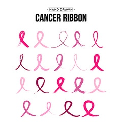 Breast cancer ribbon set in hand drawn style vector