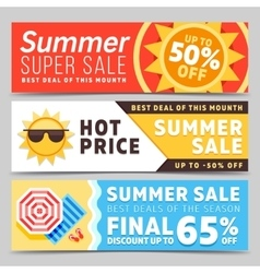 Super sale summer banners vector