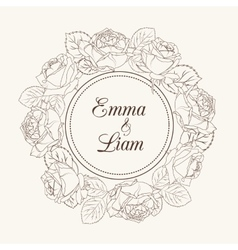 Rose flowers wreath wedding invitation card vector