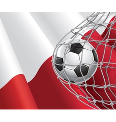 Soccer goal and poland flag vector