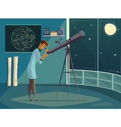 Astronomer With Telescope Retro Cartoon Poster vector image